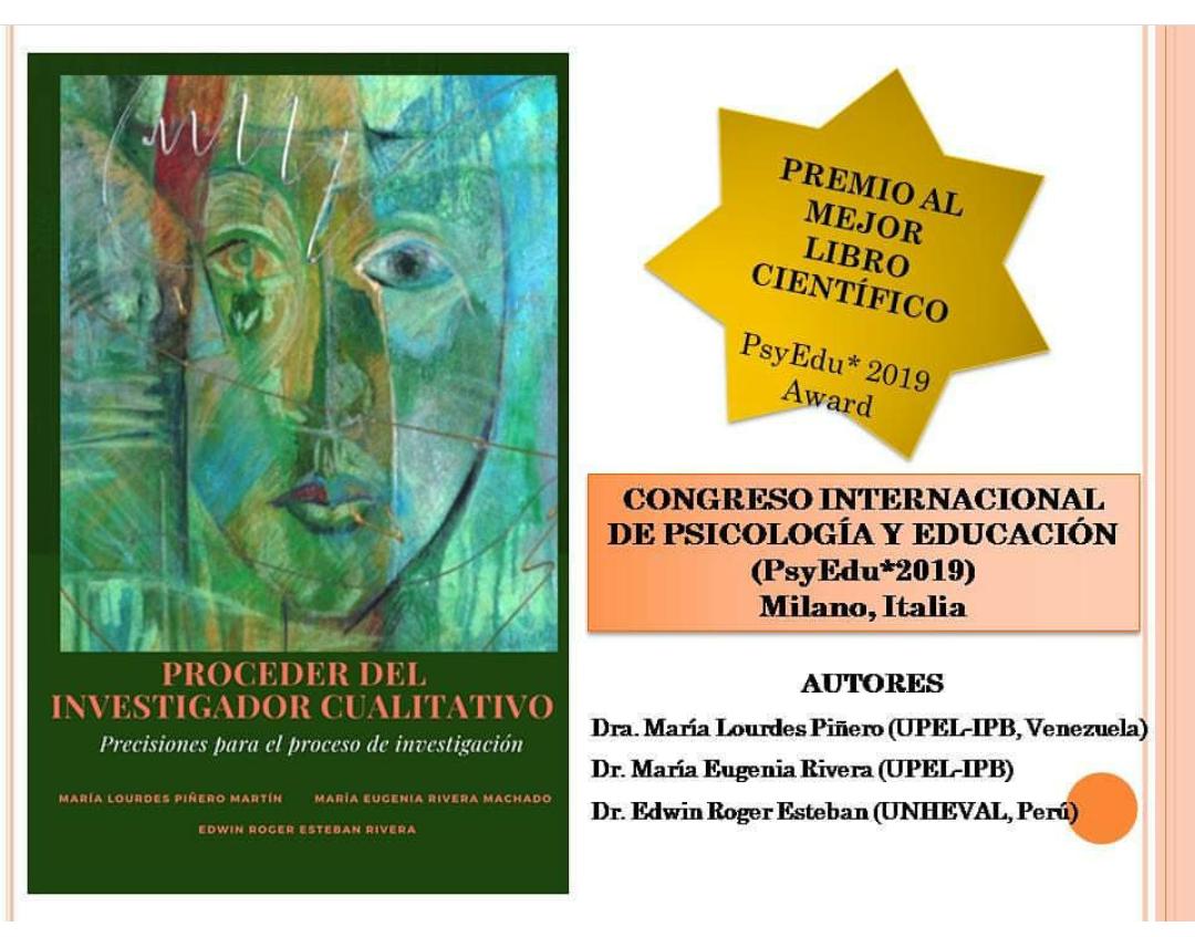 """Premiado el libro """"El proceder del investigador cualitativo"""""""