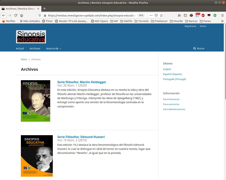 Sinopsis Educativa en el sitio de Revistas UPEL-IPB